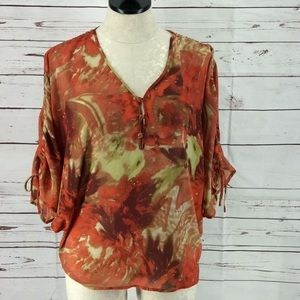 Rose & Olive sheer abstract batwing small blouse